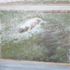 Reflexión sobre la muerte 3, 2012, Caseina sobre tabla, 120 x 120 cm,