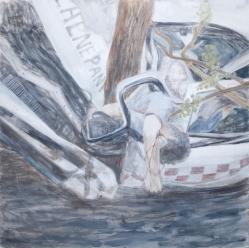 Reflexión sobre la muerte 4, 2012, Caseina sobre tabla, 120 x 120 cm,